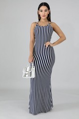 Navy Open Back Stripe Maxi Dress