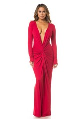 Twist Front Red Long Sleeve Maxi Dress