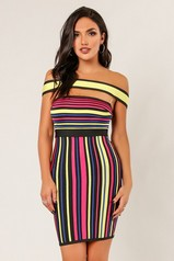 Off Should  Multi Color Bandage Dress