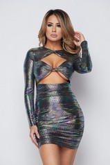 Holographic Cut Out Mini Dress