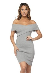 Heather Grey Pearl Embellished Knit Dress