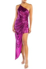 Fuchsia Metal Drap Hem Dress
