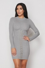 Gray Ribbed Long Sleeves Corset Lace Up Dress