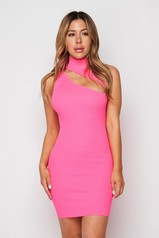 Neon Pink Slash Mini Dress