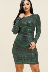 Emerald Metallic Long Sleeve Dress