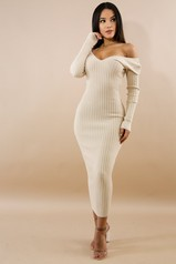 Ivory Ribbed Off Shoulder Dress