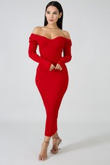 Red Ribbed Off Shoulder Dress