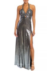 Silver Metallic Slit Maxi Dress